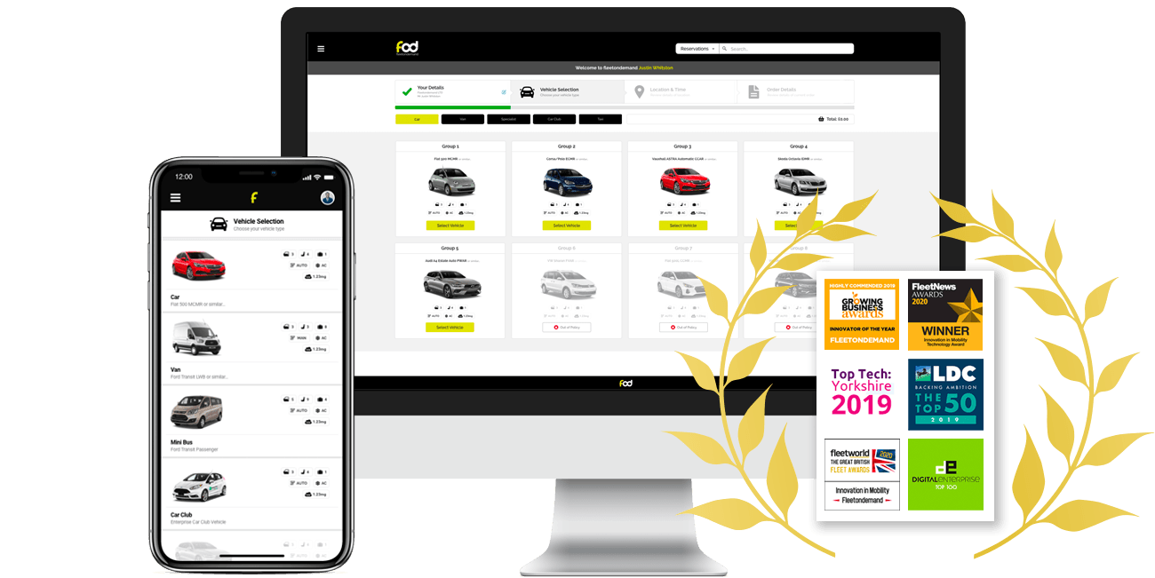 An iPhone and iMac showcase of the Fleetondemand vehicle hire platform alongside a list of awards